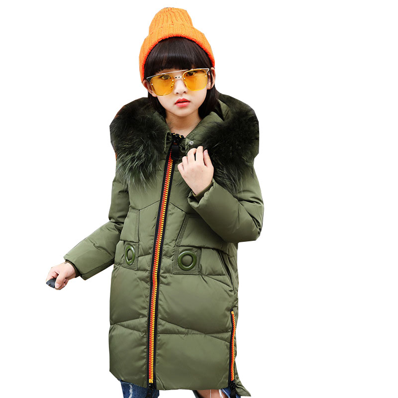 2018 New Children Down Jacket Girl Long Winter Fur Coats White Duck Down Girls Parka 6 8 10 12 14 Kids Overcoat