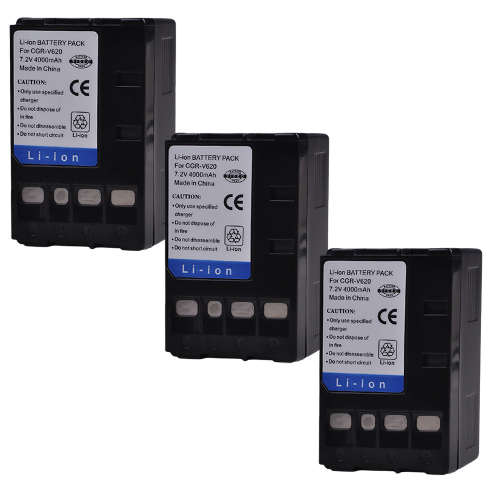 3x 4000mAh PowerTrust CGR-V620 CGR-V14S CGR-V610 CGR-V26S Battery for Panasonic V610 V620 NV-RX14 NV-RX17 NV-<font><b>RX18</b></font> NV-RX24 Camera image