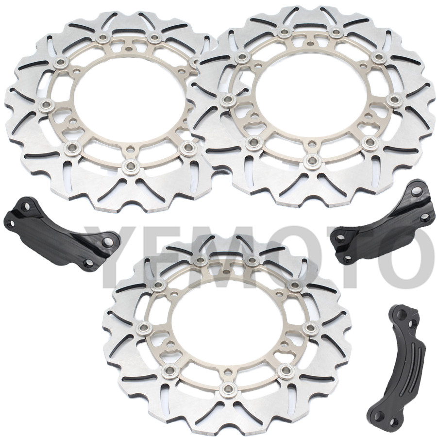 1 Set Motorcycle Front & Rear Brake Disc Rotor For TMAX500 TMAX 500 2008- 2013 09 10 11 12  Titanium  Steel Free Shipping 1 pcs motorcycle rear brake disc rotor for tmax500 tmax 500 2008 2009 2010 2011 2012 2013 red free shipping