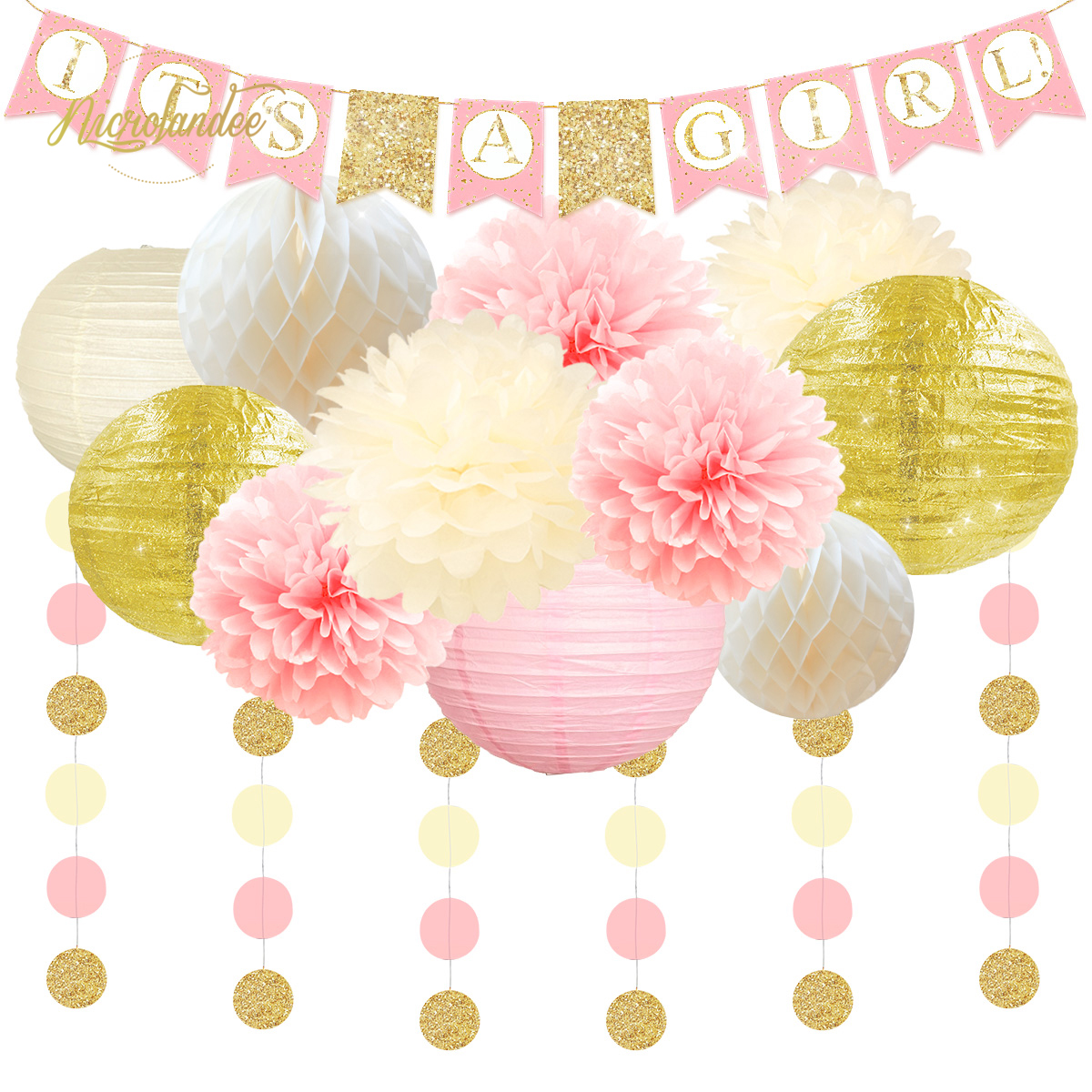 Nicro 13 pièces genre réveil est une fille fête décoration ensemble bébé douche papier bricolage décor lanterne nid d'abeille fleur boule pompon