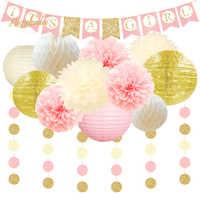 Nicro 13Pcs Gender RevealIt Is a Girl Party Decoration Set Baby Shower Paper DIY Decor Lantern Honeycomb Flower Ball PomPom