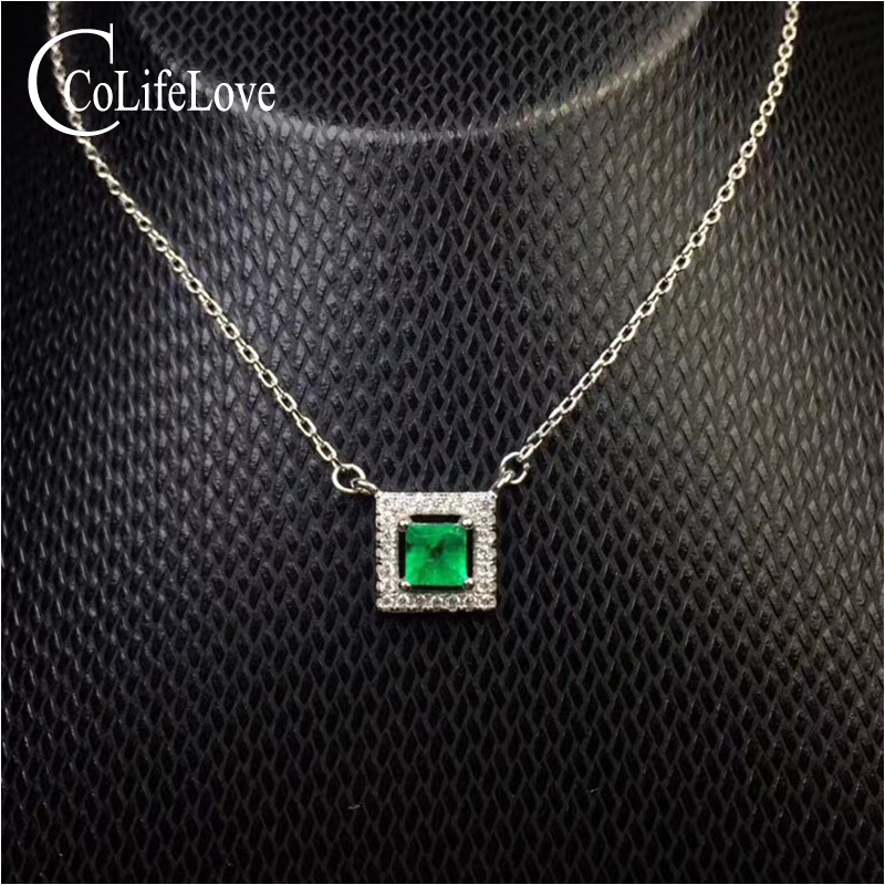 Simple emerald necklace 3.8 mm natural emerald silver jewelry fashion 925 silver emerald necklace romantic gift for woman
