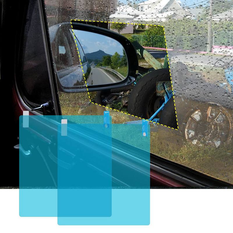 2pcs 200*175MM Automotive Side Window Clear Anti Fog Car Protective Film Sticker Waterproof Rainproof Car Sticker Clear Film