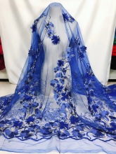 BEAUTIFICAL royal blue 3d tulle lace fabric embroidery wedding with beads 5 yards ML26N102