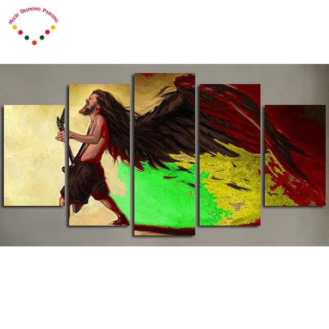 5D 5 Panel Reggae Bob Marley Art DIYdiamond painting needlework ...