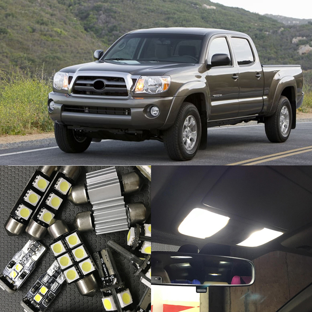 9Pcs White Auto Interior LED Lights Bulb Kit Canbus For 2005 2015 Toyota  Tacoma Map