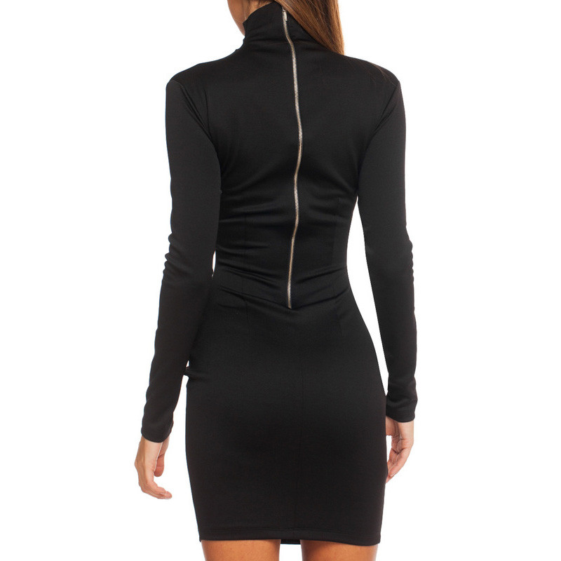 Women Clothes 2018 Autumn Long Sleeve Bodycon Casual Dress Fall Winter Slimming Solid Color Elegant Temperament Quality Dresses 2