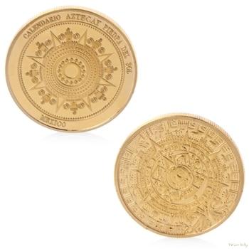 Pozłacany kalendarz majów meksyk pamiątkowa pamiątkowa moneta kolekcja Token nieaktualna moneta w-sklep Sep11_A
