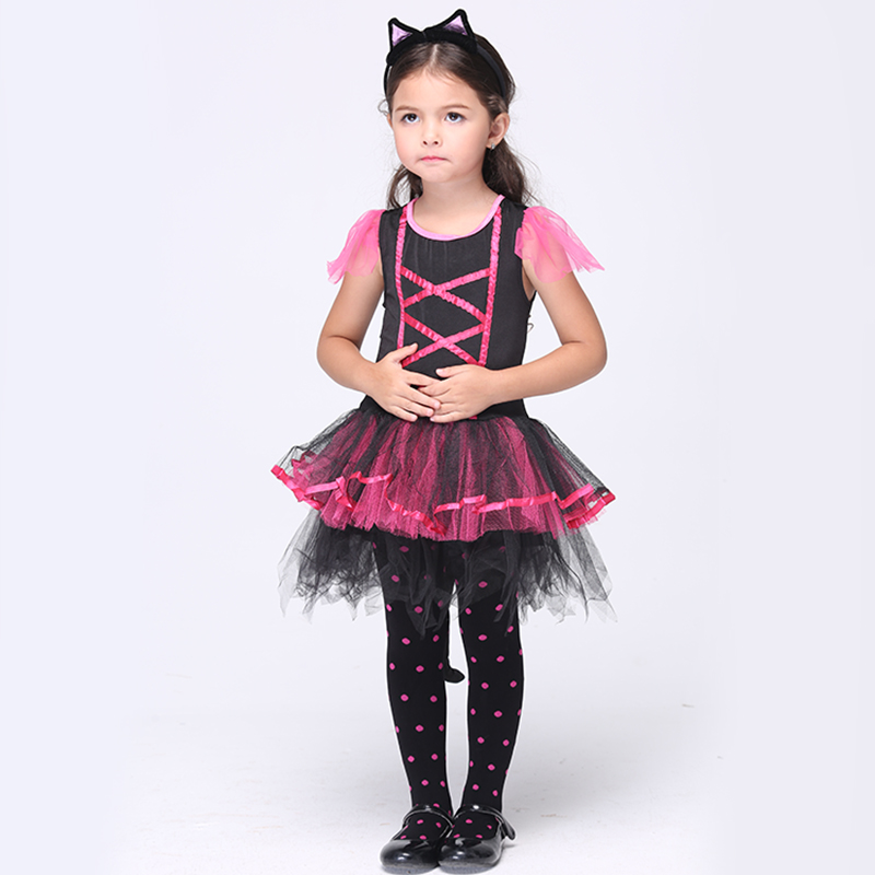 Halloween Cosplay Christmas Baby girl Children Clothing Masquerade Party Dress Tiara cat's tail Girls Toddler Costume devil may cry 4 dante cosplay wig halloween party cosplay wigs free shipping
