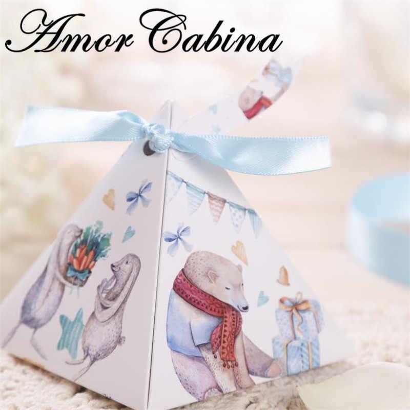 50 Uds. Creativos unicornios pirámide boda cumpleaños fiesta como caja de dulces para regalar caja de cerveza Chocolate caja Etiquetas de gracias y cintas