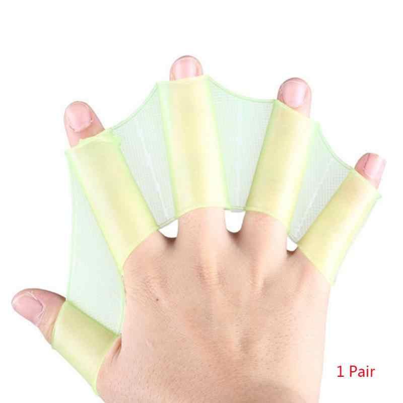 1 para gorąca sprzedaż Unisex żaba typu silikonowe pasy pływanie płetwy ręczne płetwy palmowe rękawice Webbed Paddle sporty wodne ~ 3