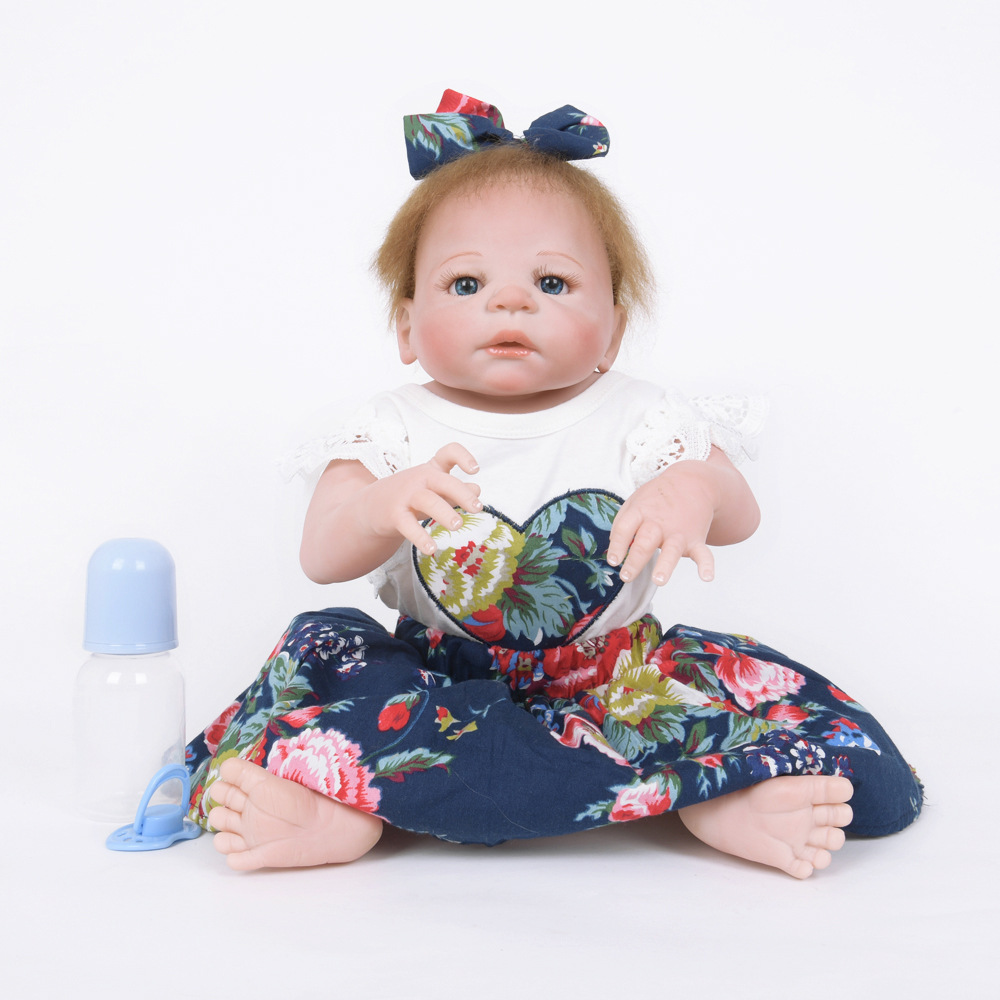 55cm Soft Full Silicone Reborn Baby Realistic Newborn Princess Girl Doll for Kids Toy Xmas Birthday New Year Gift недорого