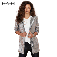 HYH HAOYIHUI Women Autumn Blazer Pockets Casual Long Sleeve Silver Turn-down Collar