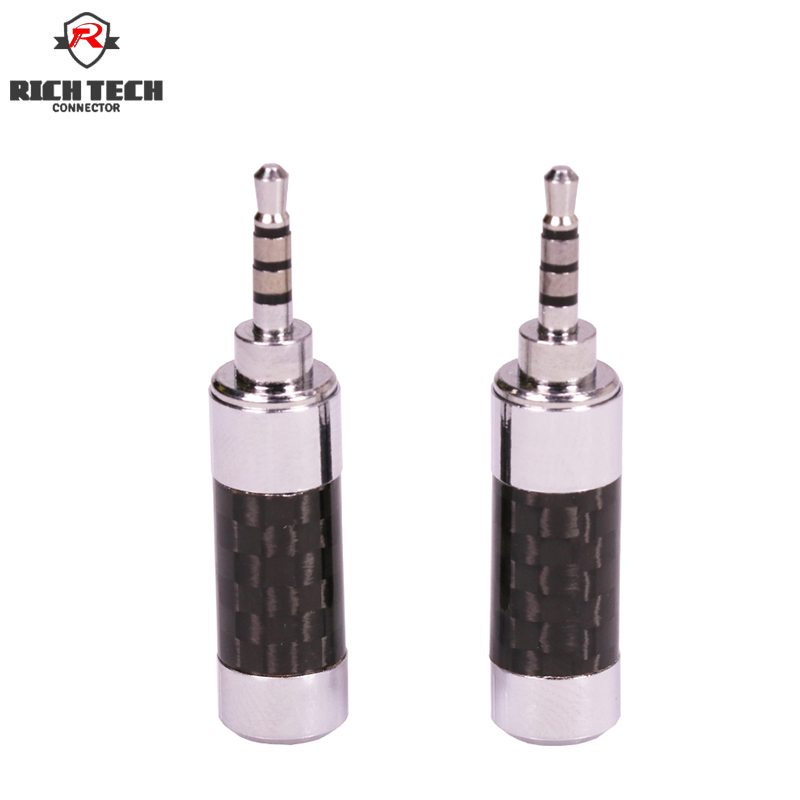 все цены на 50pcs Rich Tech Nickel Plated Black Weave Pattern Carbon Shell Jack 2.5mm 4Poles TRRS 2.5mm Plug DIY Wire Adapter онлайн