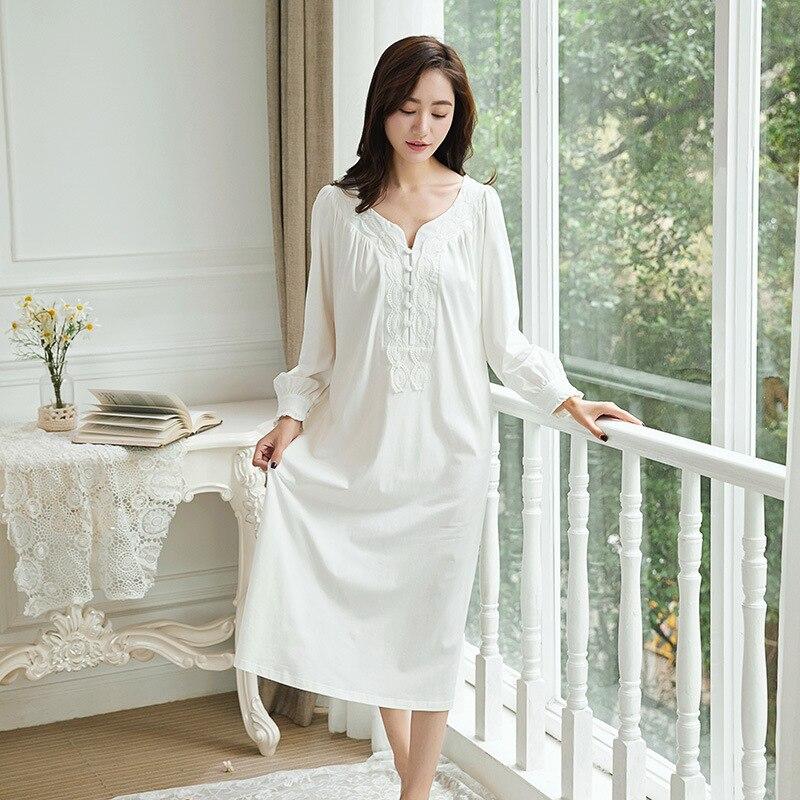Detail Feedback Questions about WANGEl Plus Size Maternity Nightgown Retro  Palace Princess Women Sleepshirts 100% Cotton Pregnant Sleepwear Lace  Patchwork ... cc28e11d1