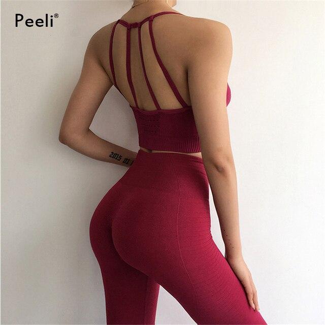 Peeli 2 חתיכה יוגה סט ספורט ללבוש נשים ספורט חליפת כושר כושר בגדי חלקה ספורט חזייה חותלות אימון ריצה אימוניות