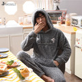 JRMISSLI Men's <font><b>Pajamas</b></font> Winter Mens Flannel <font><b>Pajama</b></font> <font><b>Sets</b></font> Hooded Pyjama Men Sleepwear Male Thick Warm Coral Fleece <font><b>Pajamas</b></font>