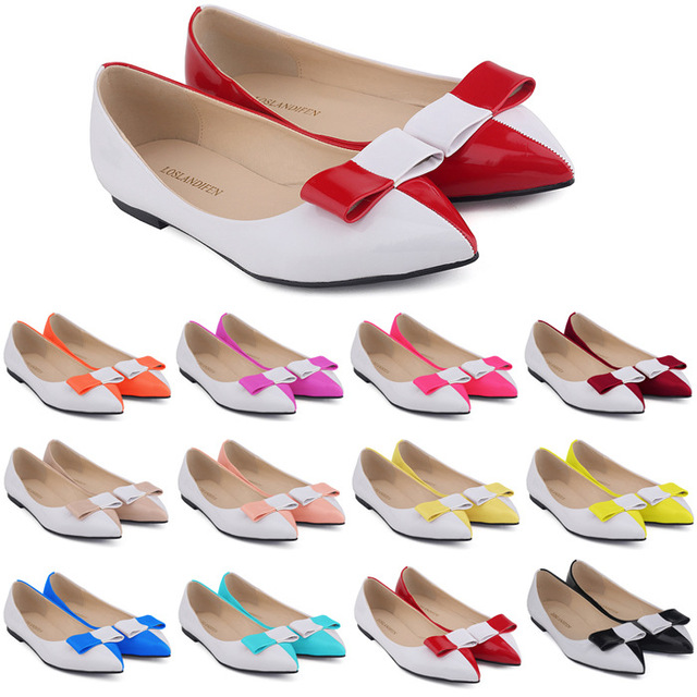 Women Bow Flats Pointed Toe Fashion Office Work Style Party Leather Shoes For Summer Autumn Size 35 - 42