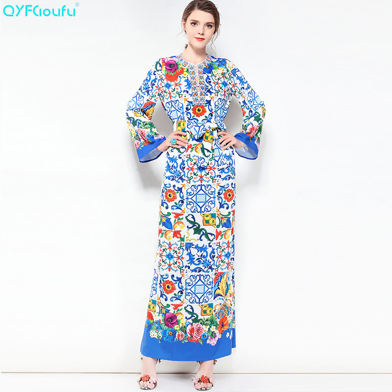 QYFCIOUFU 2018 Summer Plus Size Women Maxi Dresses Long Sleeves High Quality  Designer Runway Floral Print Beading Boho Dress