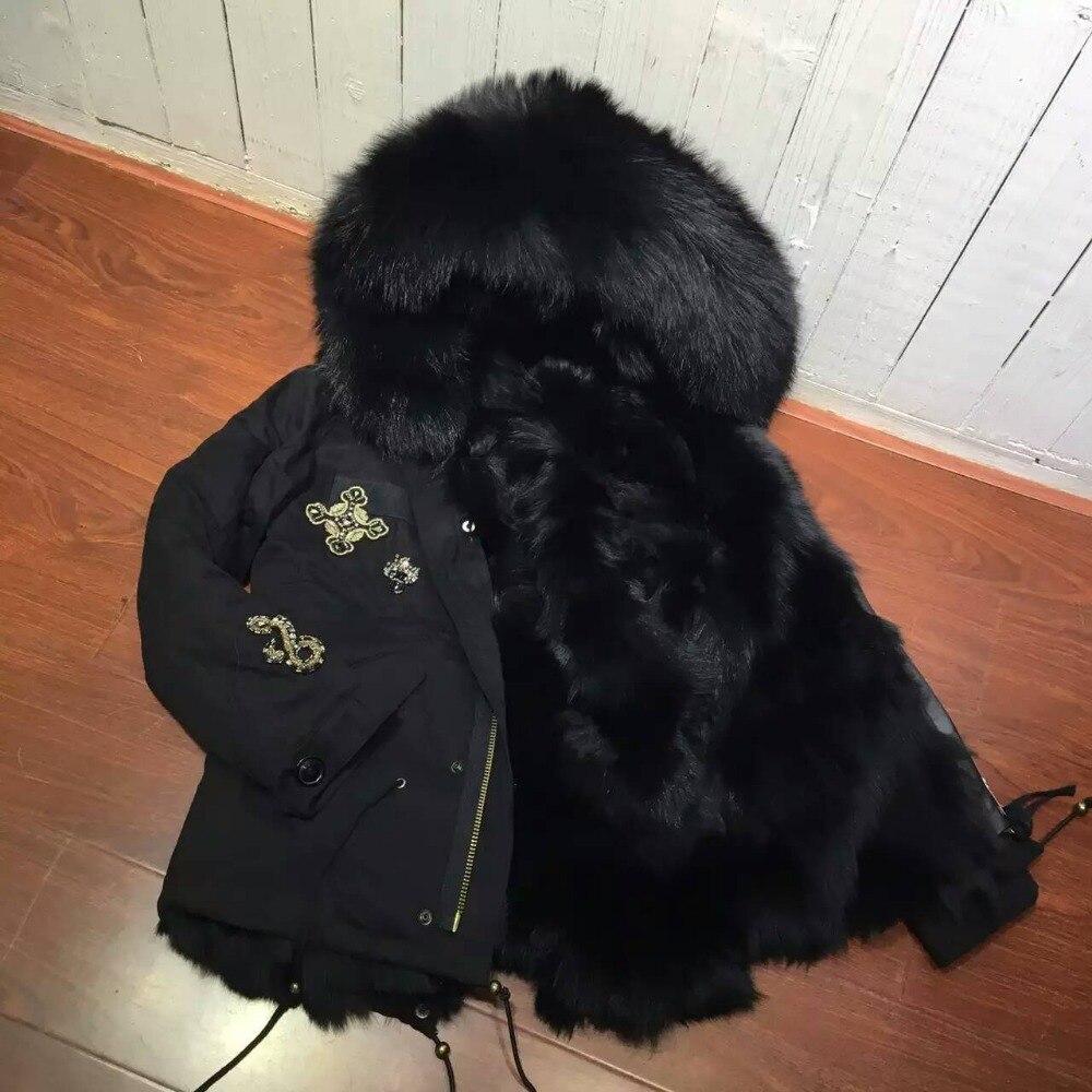 US $700.0 |Heißesten Schwarzen Fuchspelz Futter Kurz Pelz Parka Für Damen Winter Tragen, schwarz Shell Echtpelz Daunenjacke MR MRS in Kunstpelz aus