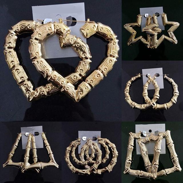 4f95431ff Hot Rihanna Basketball Wives Gold Silver Tone Heart Star Single/double  Bamboo Joint Hoop Earrings