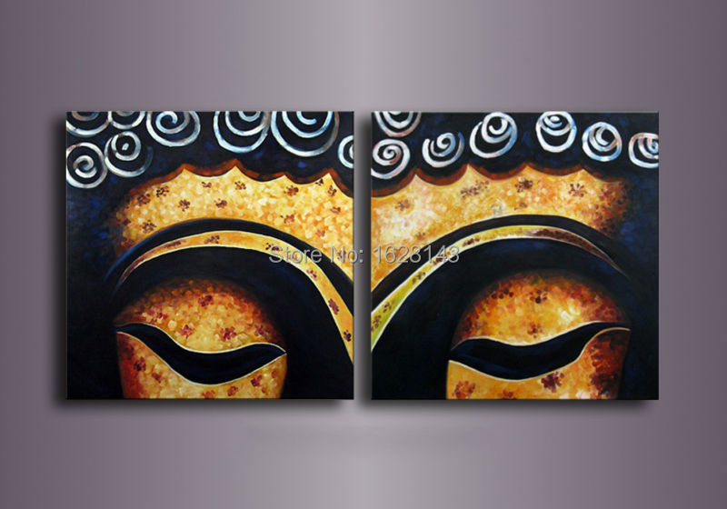 Handmade Buddha Painting Modern Canvas Wall Pictures Bouddha 2 Pieces Decoration Oil Art Set On Living Room 2pn6 In Calligraphy From Home