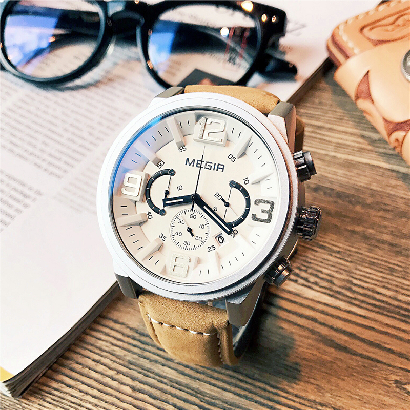 100% Wahr Megir Echtem Leder Quarz Männer Uhr Sport Militärischen Stil Uhren 3atm Wasserdichte Chronograph Mann Armbanduhr