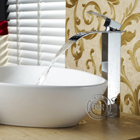 Bathroom Sink Chrome Polished Waterfall Lavatory Mixer Faucet Free Shipping LT 503