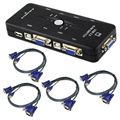 Wholesale 10pcs USB 2.0 KVM Switch 4 Port W 4 Set Cable For Mouse Keyboard Monitor Sharing_DHL