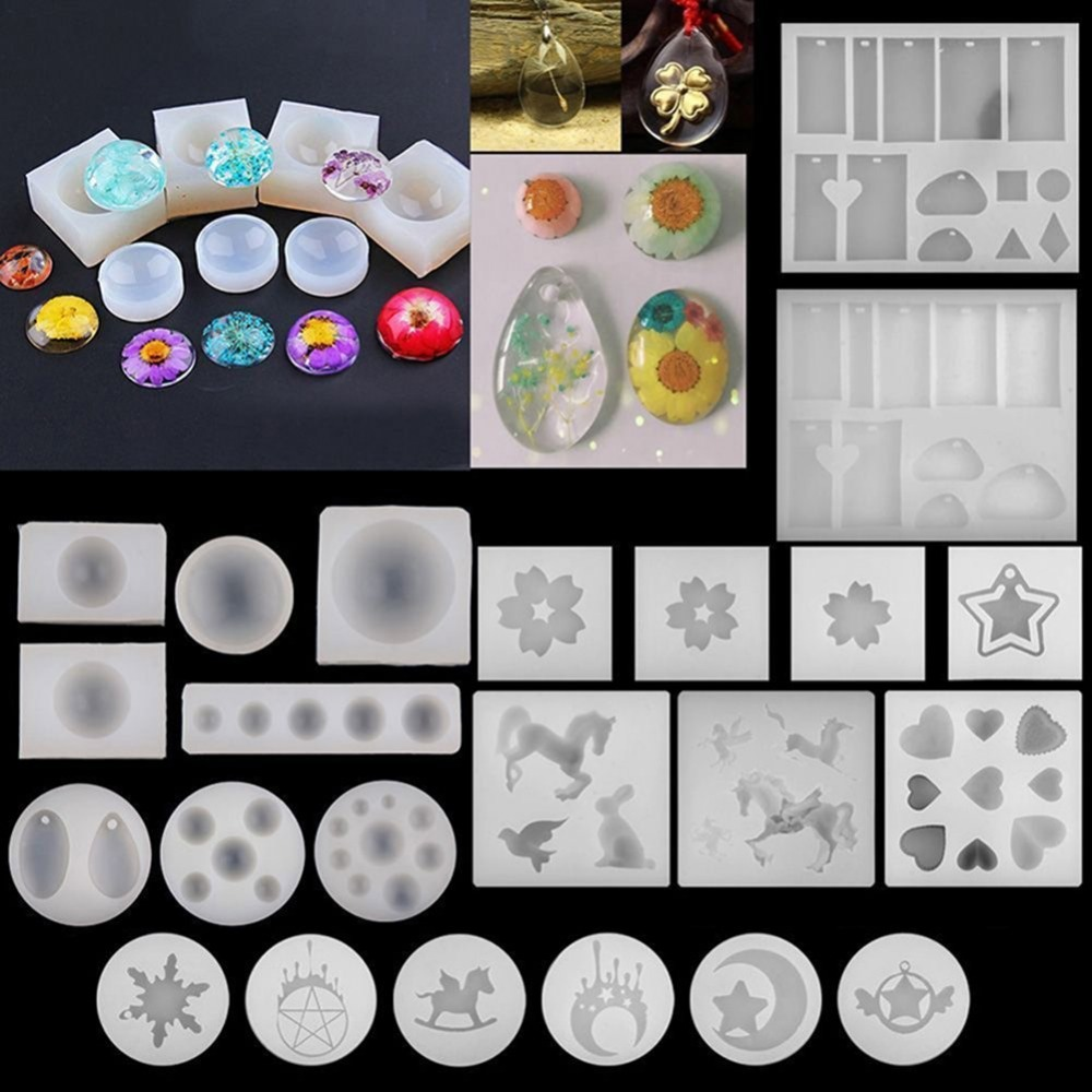 Double One DIY Silicone Pendant Mold Jewelry Making Craft Tool Earring Necklace Pendant Moulds Jewelry Decorating