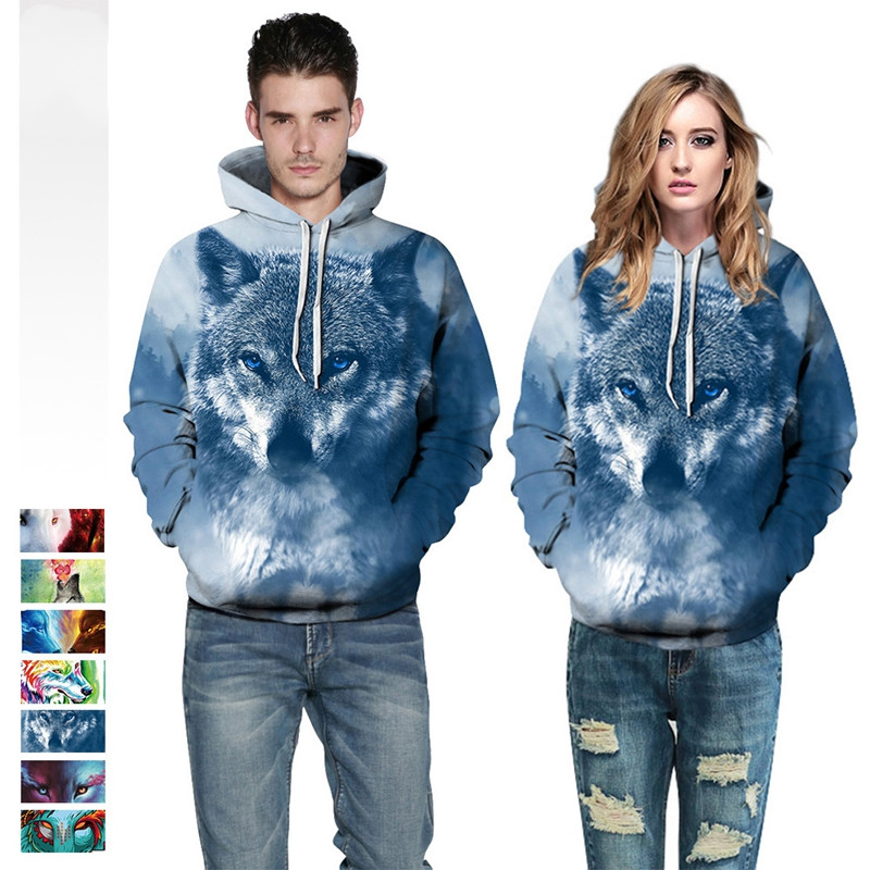 7 Style Plus Size Printed Wolf <font><b>Hoodies</b></font> <font><b>3d</b></font> <font><b>Animal</b></font> <font><b>Unisex</b></font> Hoody Sweatshirt Hip Hop Tracksuit Pullover With Pocket Tops DropShip image