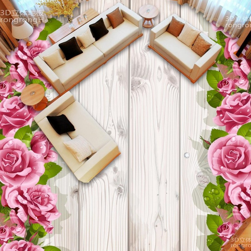 ФОТО Free Shipping Rose Wood Grain 3D Floor painting stereo non-slip moisture living room wallpaper bathroom mural