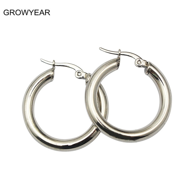 Stainless Steel Jewelry Earring Thick Casual Simple Round Small Silver Hoop Earrings For Women Many Sizes