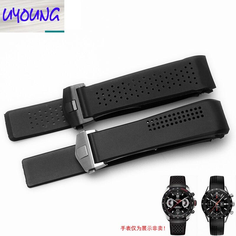 UYONG Silicone Strap Adapter Carrera Série Bracelet En Caoutchouc Hommes et Femmes Étanche 20 22 24mm Noir