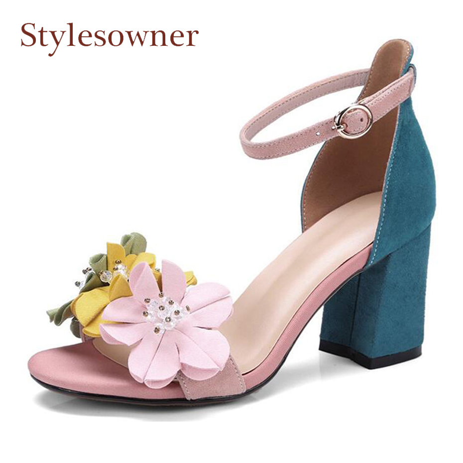 Stylesowner summer new mixed color flower sandals open toe chunky high heel suede women shoes appliques ankle strap sandals shoe цена