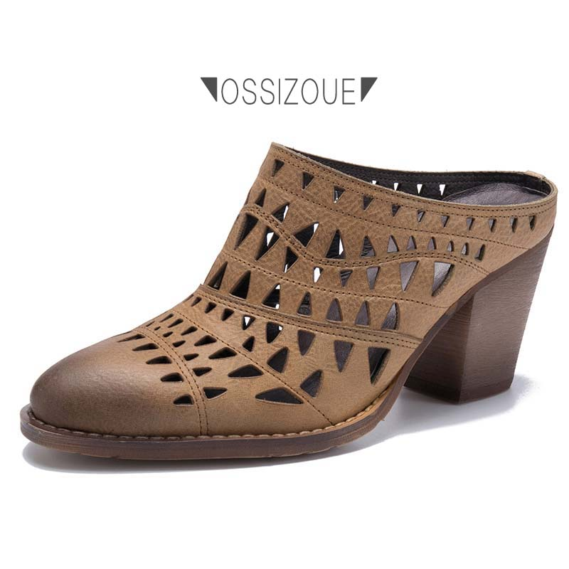 Ossizoue High Heels Retro Genuine Cow Leather Sandals Women Shoes Triangles Hollow 2 Colors 34-39Ossizoue High Heels Retro Genuine Cow Leather Sandals Women Shoes Triangles Hollow 2 Colors 34-39