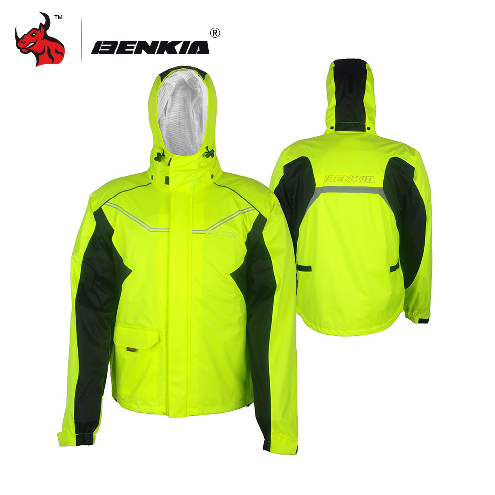 BENKIA Motorcycle Rain Suit Motorcycle Bicycle Rain Gear Riding Jackets Moto Waterproof Rain Jacket Men Women Hooded Raincoat benkia motorcycle rain coat two piece raincoat suit riding rain gear outdoor men women camping fishing rain gear poncho