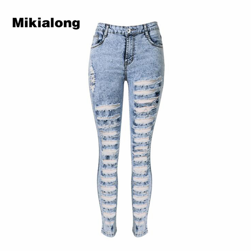 2017 Sexy Hole Ripped Jeans for Women High Waist Pencil Stretch Skinny Jeans Femme Casual Cotton Denim Pants Women women sexy distressed hole denim jeans fashion cotton stretch full length jeans high waist skinny pencil pants
