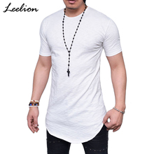 LeeLion 2018 Summer T Shirt Men Short Sleeve Hip Hop T-shirt Fashion Long Streetwear Slim Fit Tshirt Casual Solid Fitness Tops