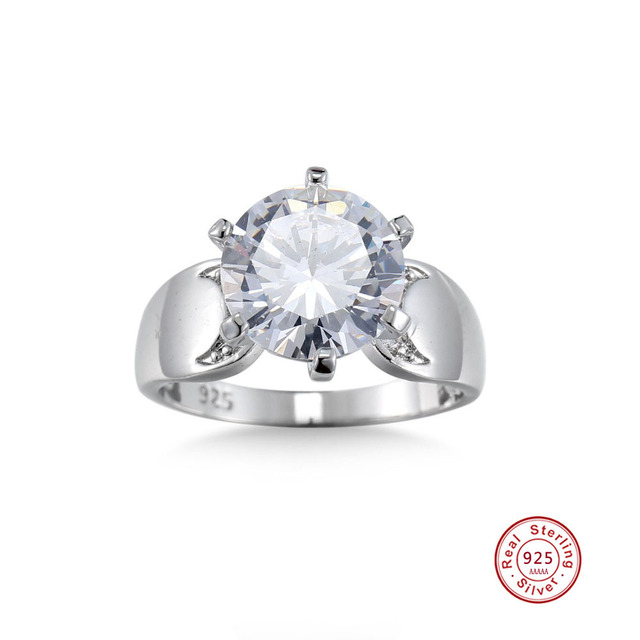 Big Promotion 100% Solid Silver Ring 2 Carat CZ Diamant Engagement Ring Real 925