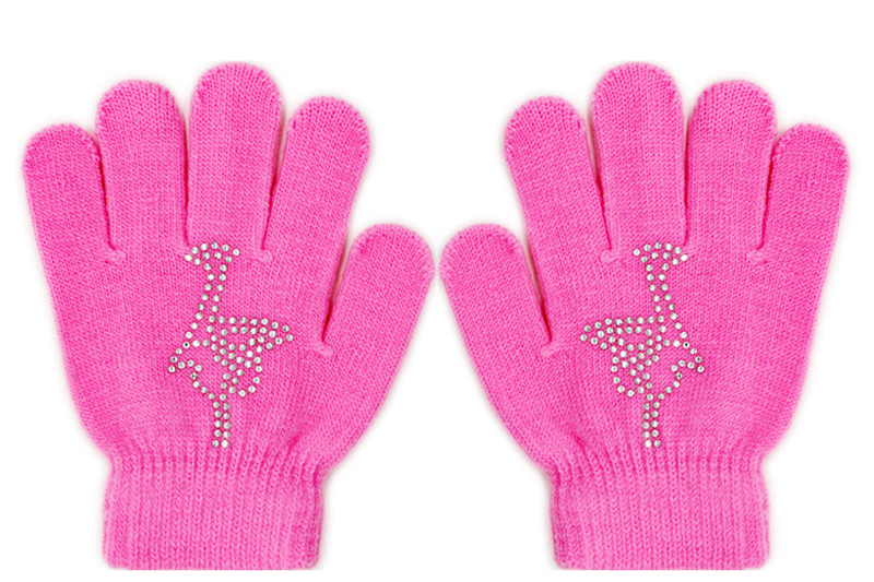 Colorful Magic Figure Skating Wrist Gloves Warm Hand Protector Thermal Safety For Kids Girls Skates Rhinestone Random Style