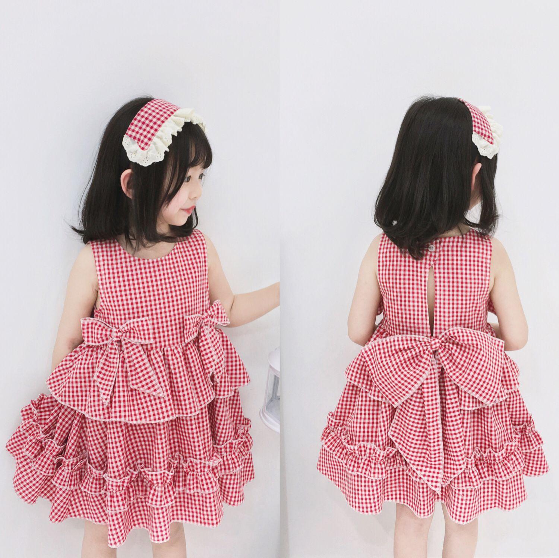 Girl 2019 Summer Children's Dress Cotton Plaid Bow Sweet Court Spanish Wind Kids Princess Dresses