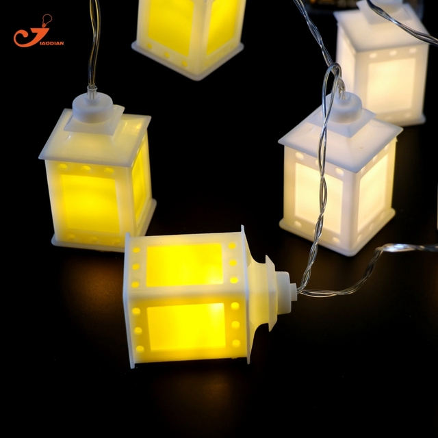 White Yellow Lantern Fairy Light Patio String Lights Holiday 10 Led Christmas Lighting Battery Birthday Party Ramadan Decor