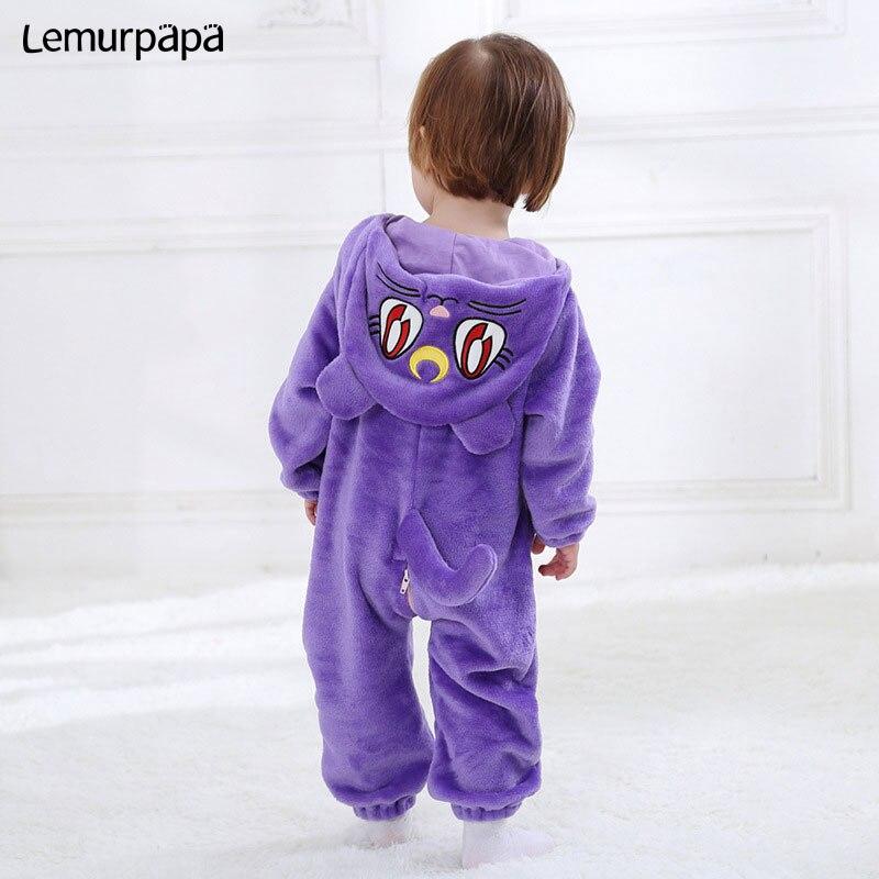 Image 2 - Purple Cat Onesie Infant Baby Romper Winter Clothes Ziper Hooded Flannel Cozy Kigurumis Animal Costume Little Boy Girl Play SuitRompers   -