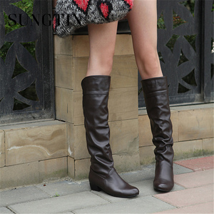 Image 3 - Sungtin 2019 Hot Sale Women PU Leather Knee High Boots Fashion Classic Flat Boots Ladies Autumn Winter Shoes Basic Long Boots
