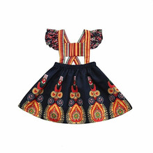 Baby Girls Vintage Dresses African Toddler Stylish Floral Printed Newborn Dashiki Mini Dress stylish floral big bow girls dress