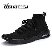 New Casual Shoes Sneakers For Men Flyknit Masculino Esportivo Lightweight Sport Shoes High Top Sneakers Air Cushion Stability
