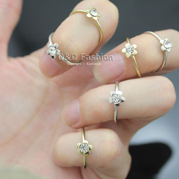 Stack 6 Gold & Silver Plated Daisy Flower Crystal Midi Knucke Finger Ring Set Gift Jewelry New image
