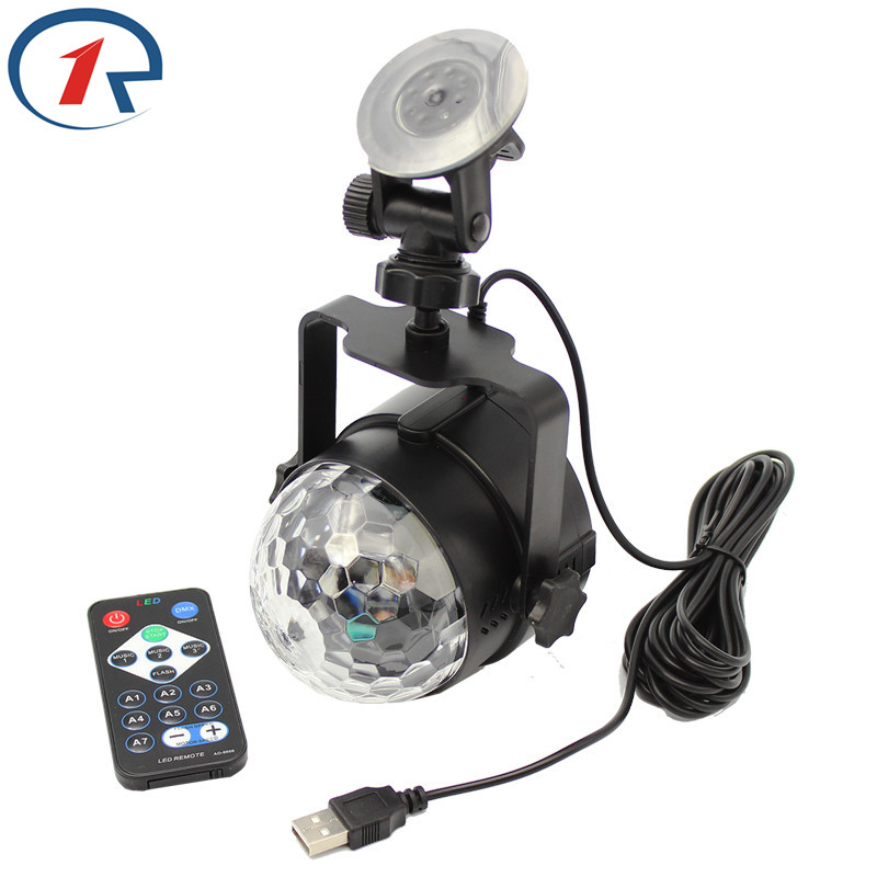 ZjRight IR Remote RGB LED Crystal Magic Rotating Ball Stage Light 1m USB 5V Colorful ktv DJ light disco light Party Effect Light