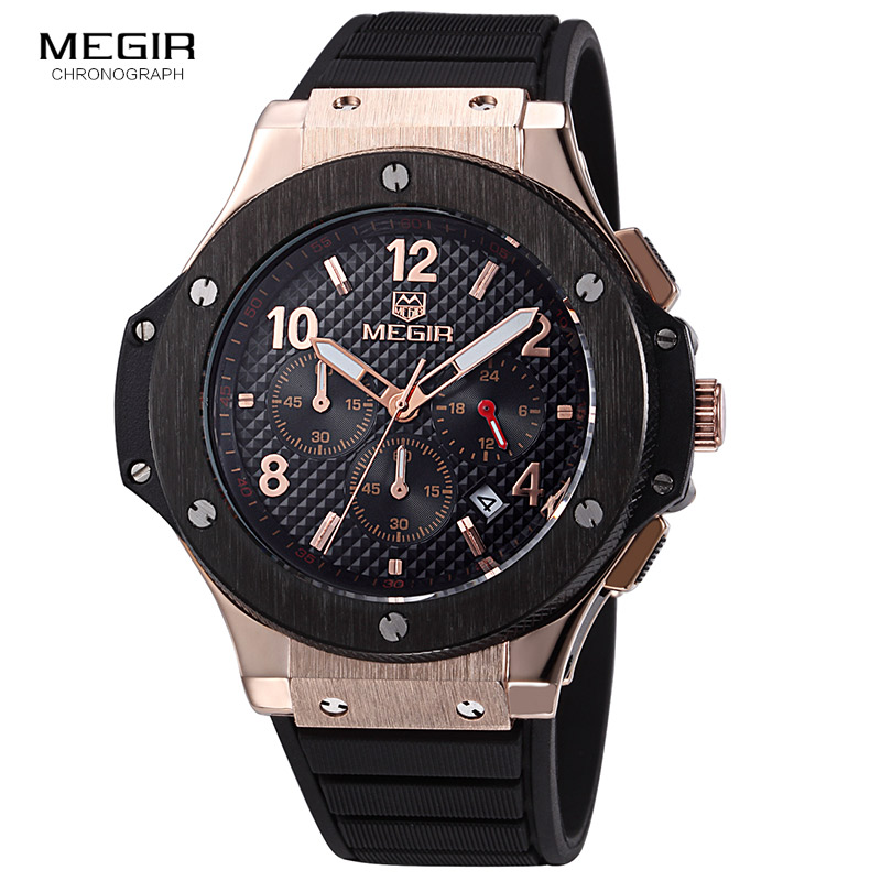 Megir hot fashion chronograph army quartz watches men luminous military sports silicone watch wristwatch man 3002G free shipping 60%off fashion silicone bracelet watch olevs men classic design military watches quartz auto date diver sports wristwatch 2017